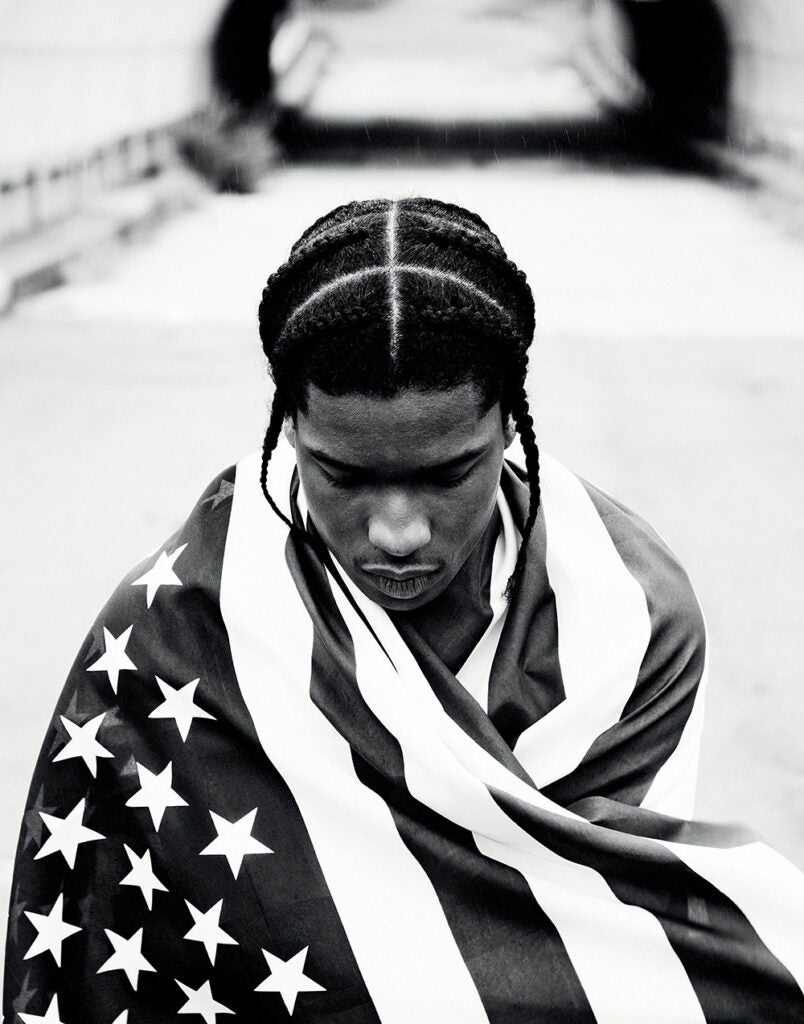 ASAP wrapped in American flag