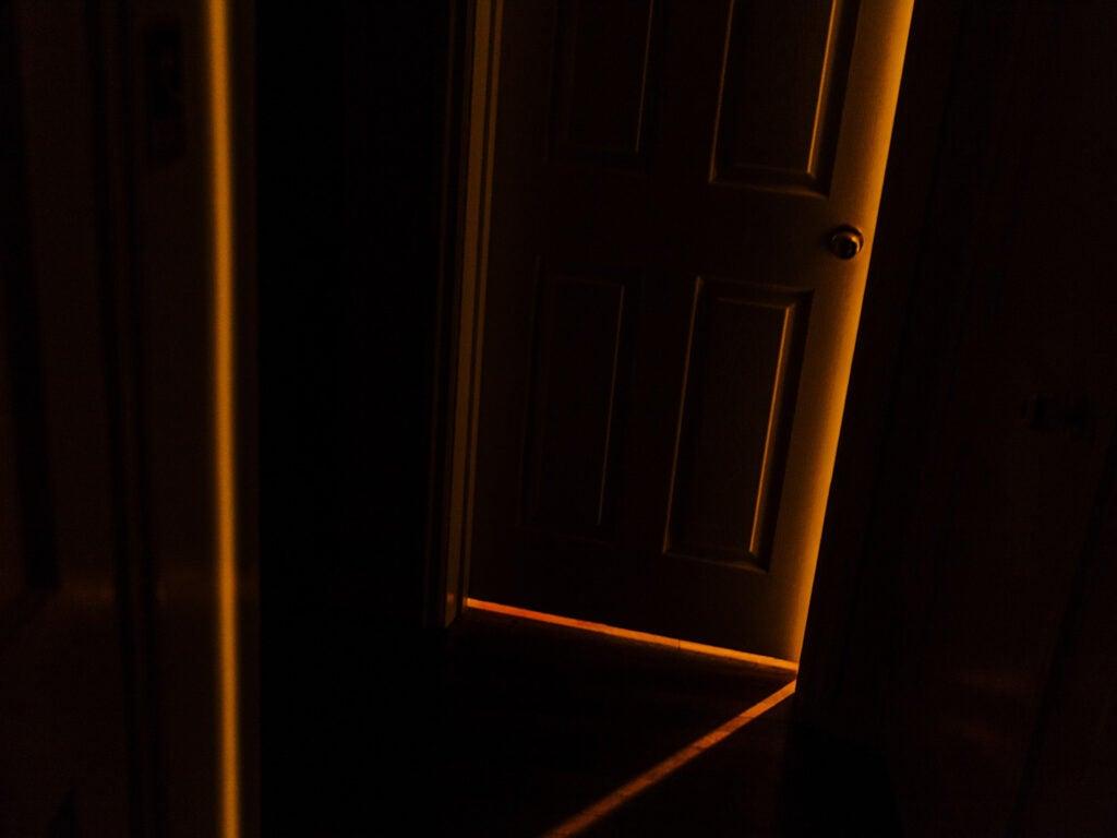 light through cracked door