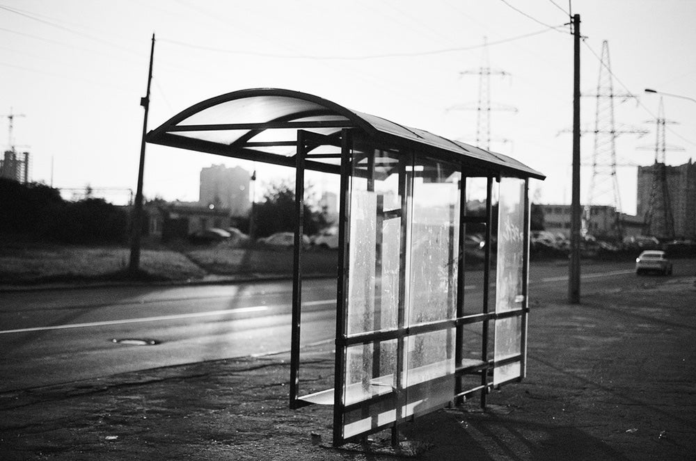 black and white bus stop