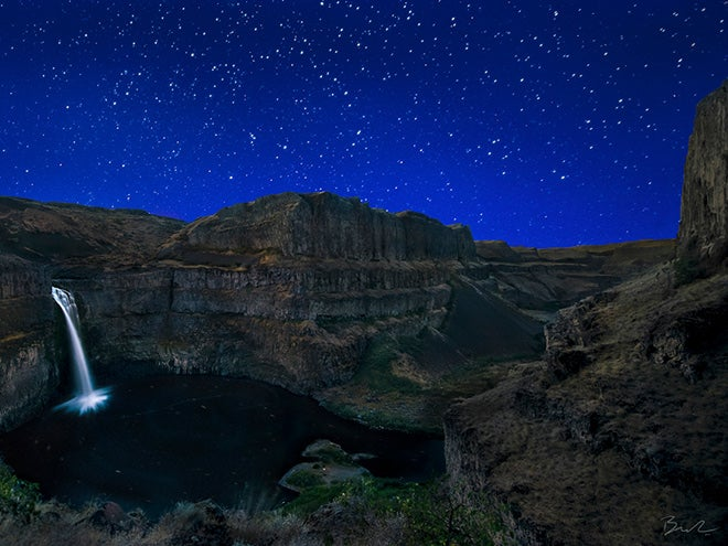 Starry night and a waterfall