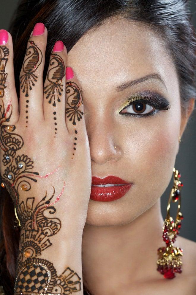 beautiful woman with henna tattoo
