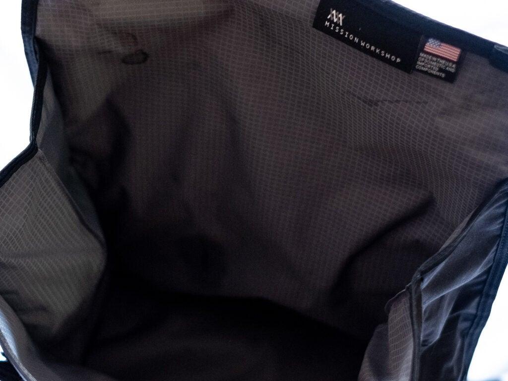 Mission workshop backpack interior
