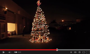 Here's a Giant Christmas Tree Made of 40 Tripods and Lots of Decorations