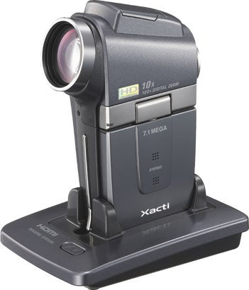 """Sanyo-Xacti-VPC-HD2-camera-HD-camcorder-in-docking"""
