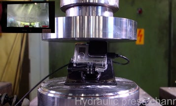 Crushing Action Cameras With a Hydraulic Press Is Stupid, Very Entertaining