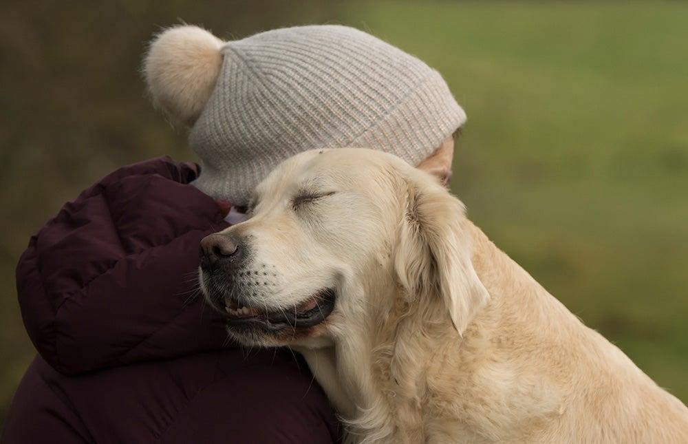dog loving human