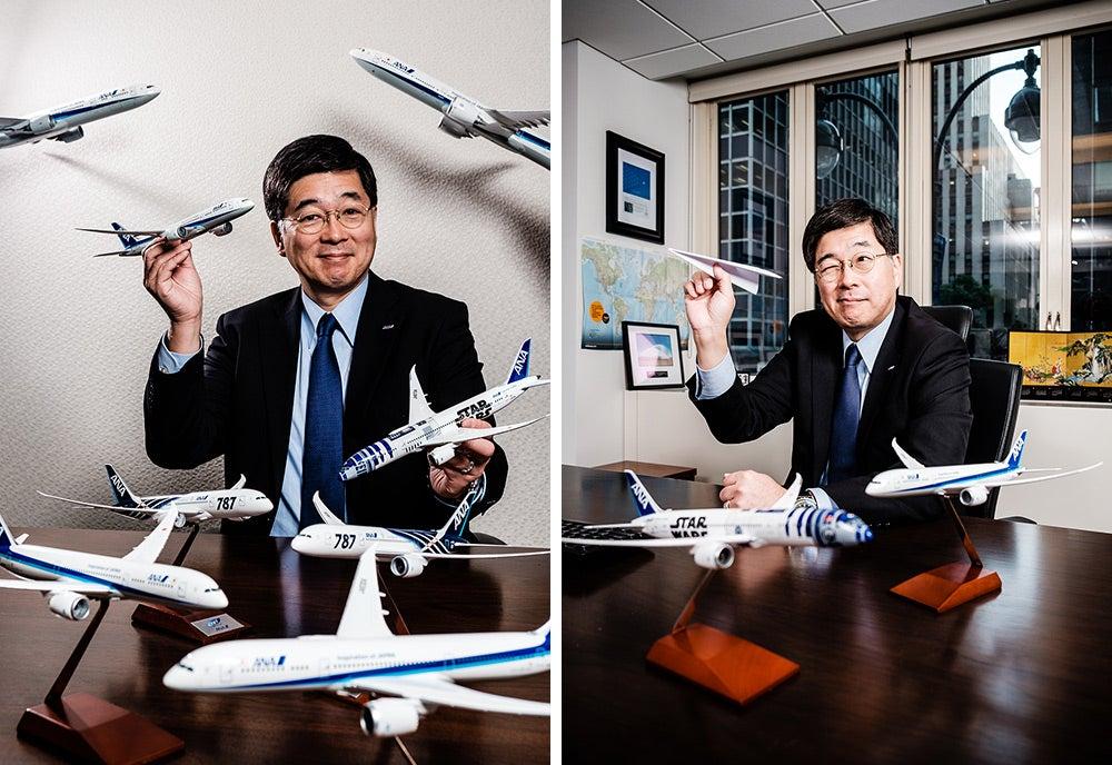 Hideki Kunugi with airplanes