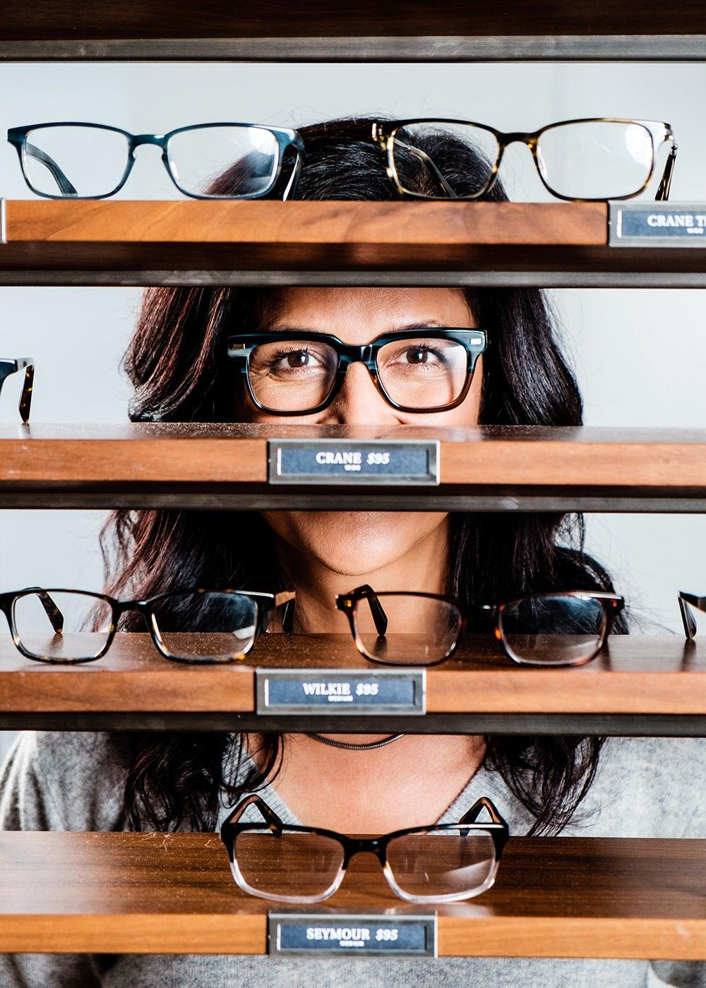 Warby Parker on the glasses shelf
