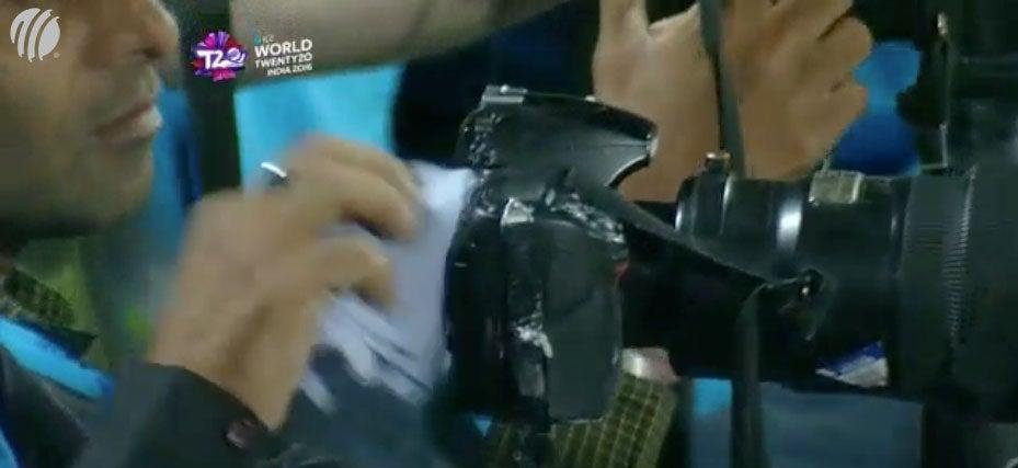 Cricket Ball Hits Photographer's Camera