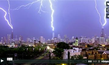 Time-lapse Captures Triple Lightning Strike on the Chicago Skyline