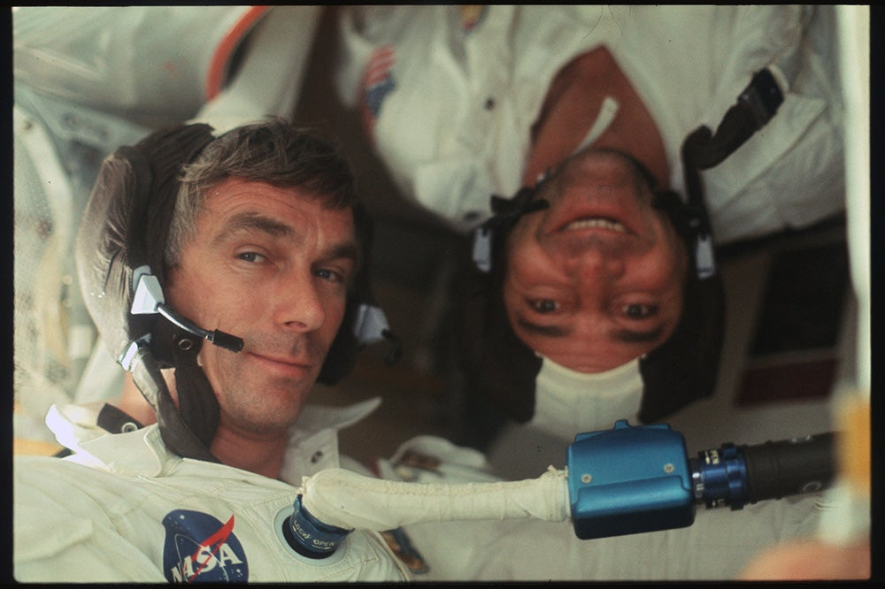 astronauts together in space