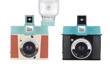 An Instax Square camera with interchangeable lenses and hotshoe flash? Yes please.