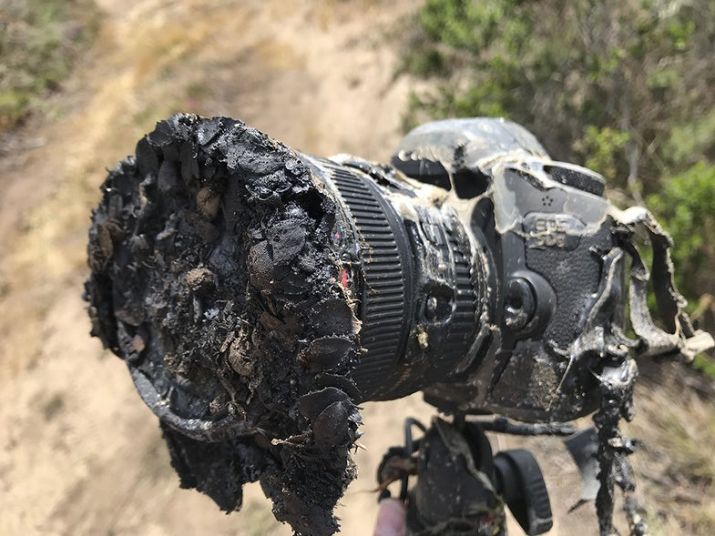 burned and melted canon camera