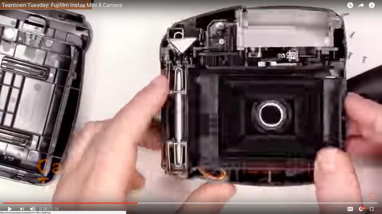 Screenshot of a Fujifilm Instax Mini 8 teardown