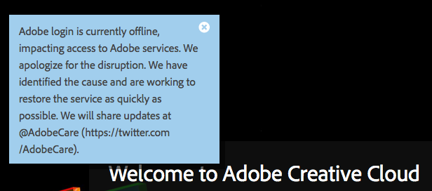 Adobe Creative Cloud Outage