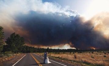 Josh Newton Captures Wedding Photos Against a Raging Wildfire