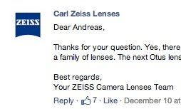 Zeiss Confirms 85mm f/1.4 Otus Lens For 2014