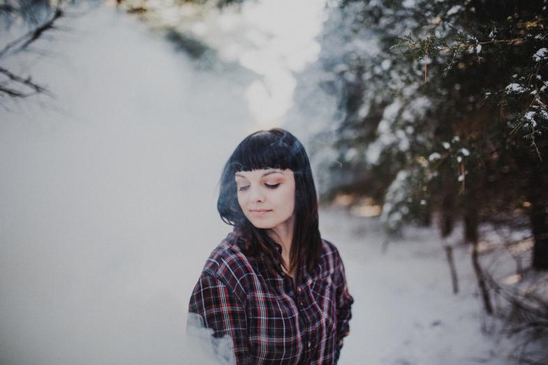 frosty woman in winter