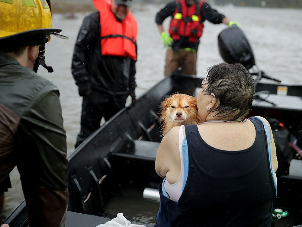 A woman and dog rescued from hurricane Florence