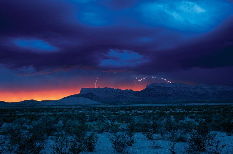 Bright blue and orange sky in Guadalupe Mountains