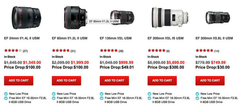Canon Lens Price drops