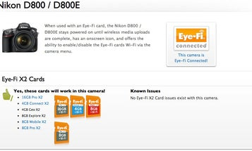 Eye-Fi Cards Now Work Fully With the Nikon 800/E