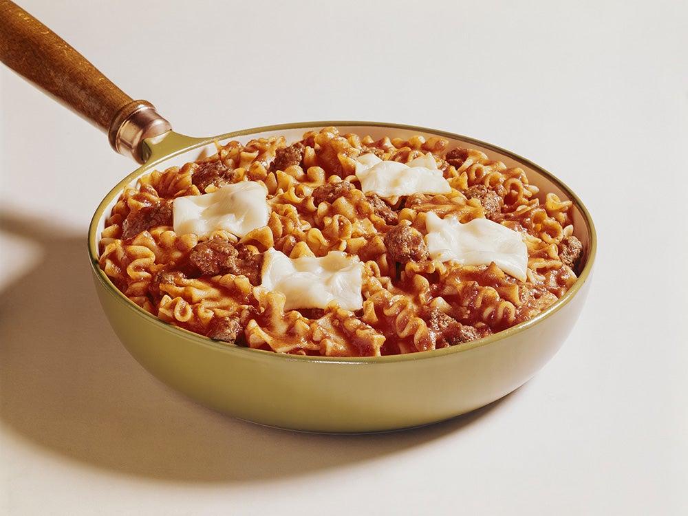 Pasta in frying pan