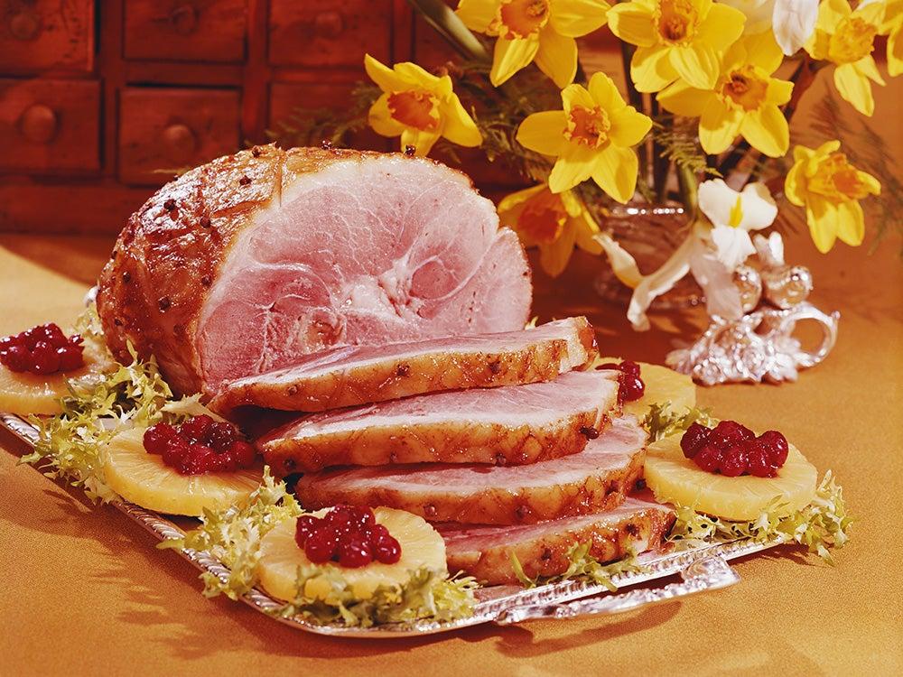 Sliced ham in tray
