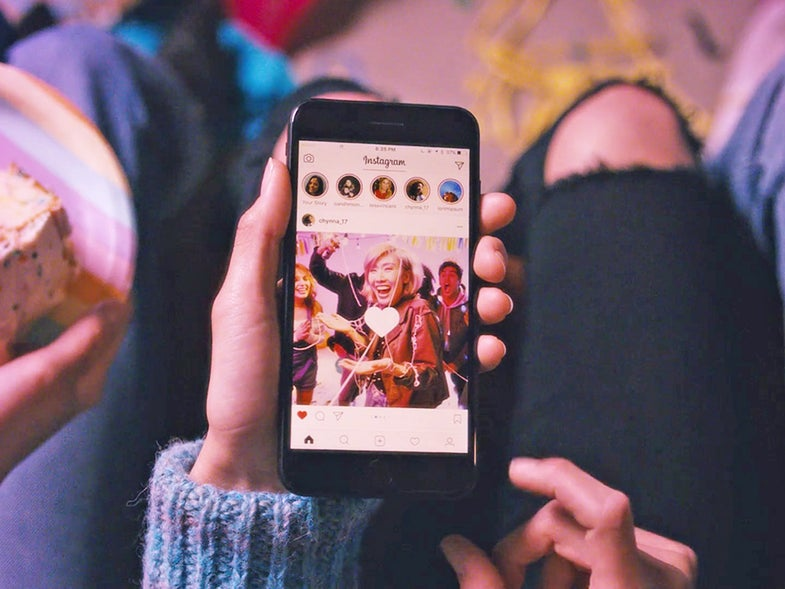 Instagram app on smartphone