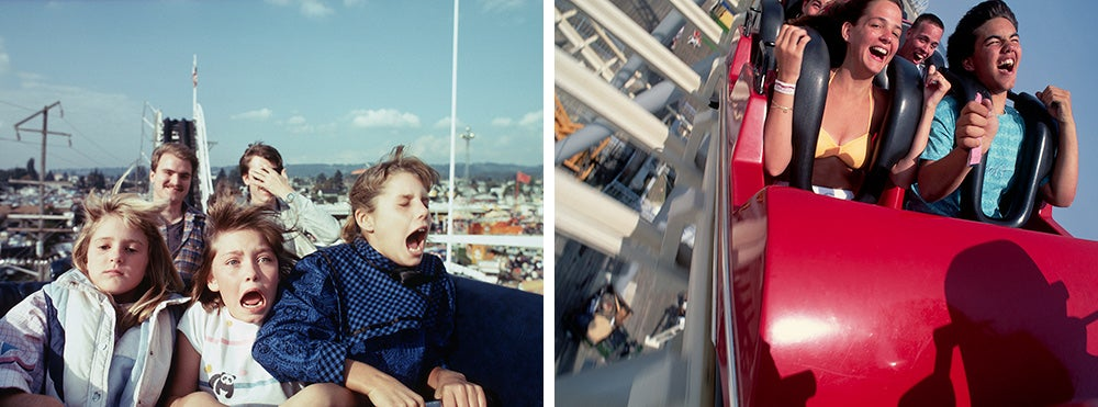 kids screaming on roller coasters