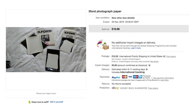 oops photo paper auction