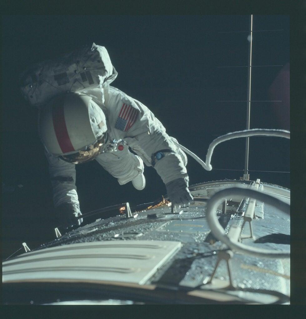 astronaut fixing ship
