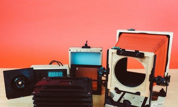 The Intrepid 4×5 enlarger turns any 4×5 camera into an enlarger and doubles as a negative scanner