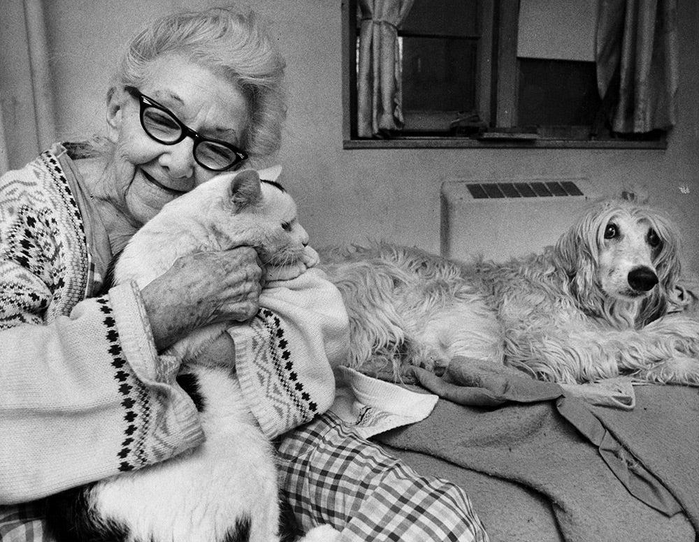 Alice Stacy hugging cat