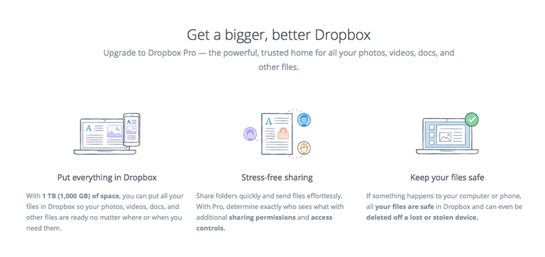 Dropbox Pro $10 for 1 TB