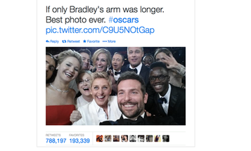 """""""Most Retweeted Photo Ever"""" From the Oscars Reminds Us That People Really Love Pictures of Celebrities"""