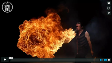Slow-Motion Bullet Time Video of Fire Breathing Using 50 Red Epic Cameras