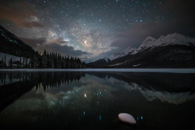 Spray Lakes Reservoir at night