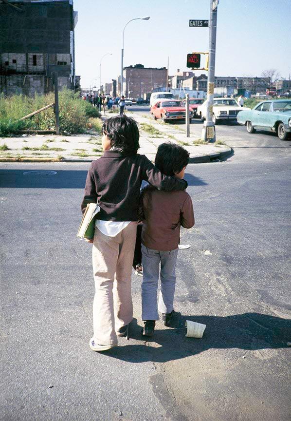 children crossing the street in 1982