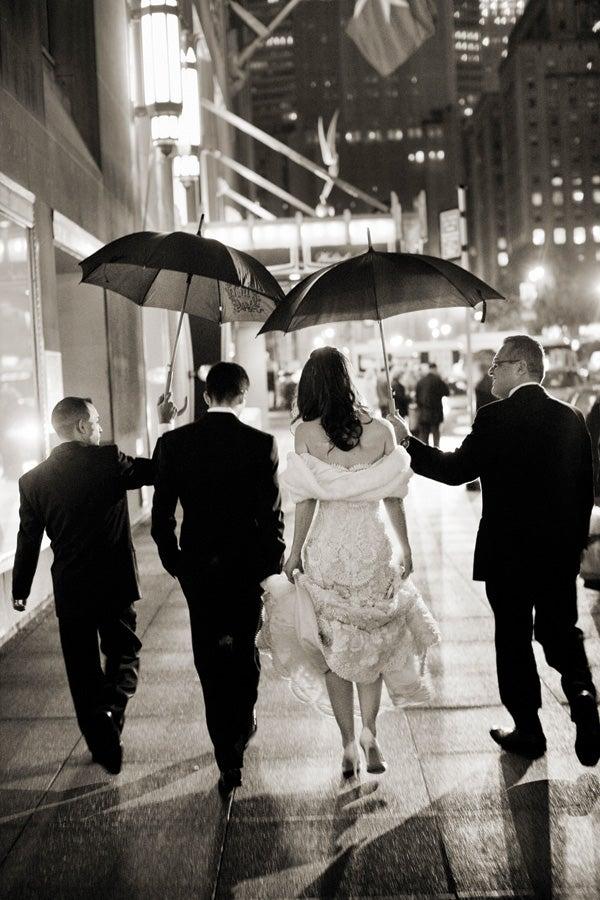 Rain can't spoil a wedding on New York's Park Avenue.