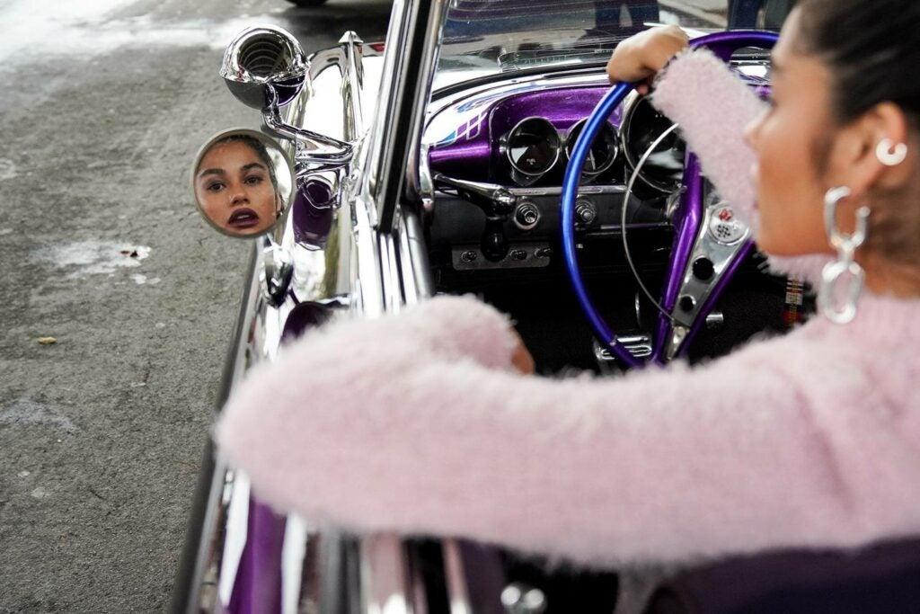 model in side mirror