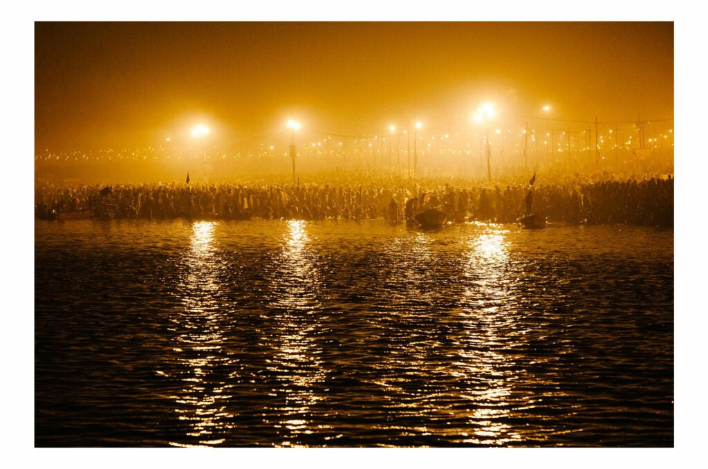 Waters lit at night in India