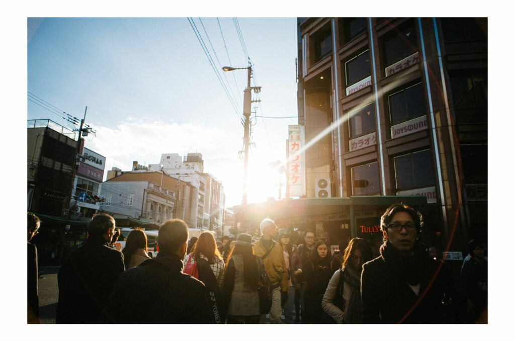 Sunlit crowd