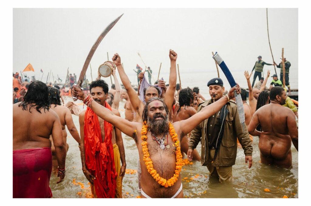People bathing in the Ganges
