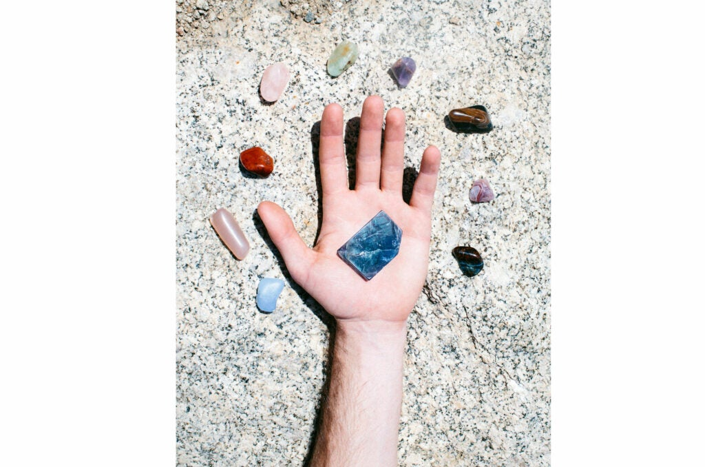 crystals in hand