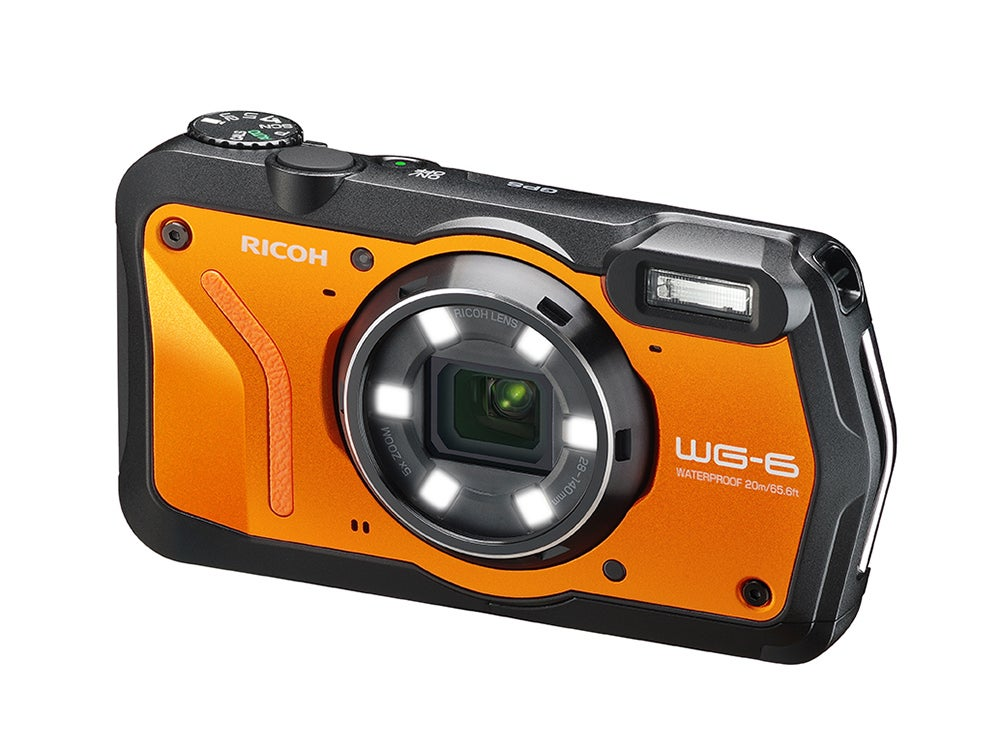 Orange Ricoh WG6 camera