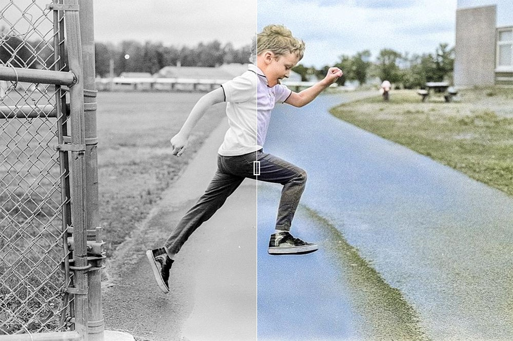 ian jumping in black and white and color