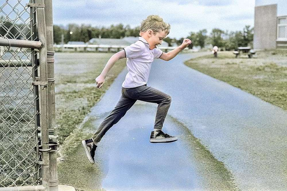ian jumping image with colourised algorithm