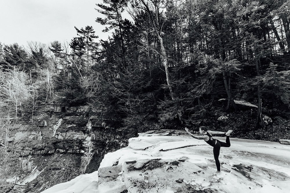 yoga in nature in black and white