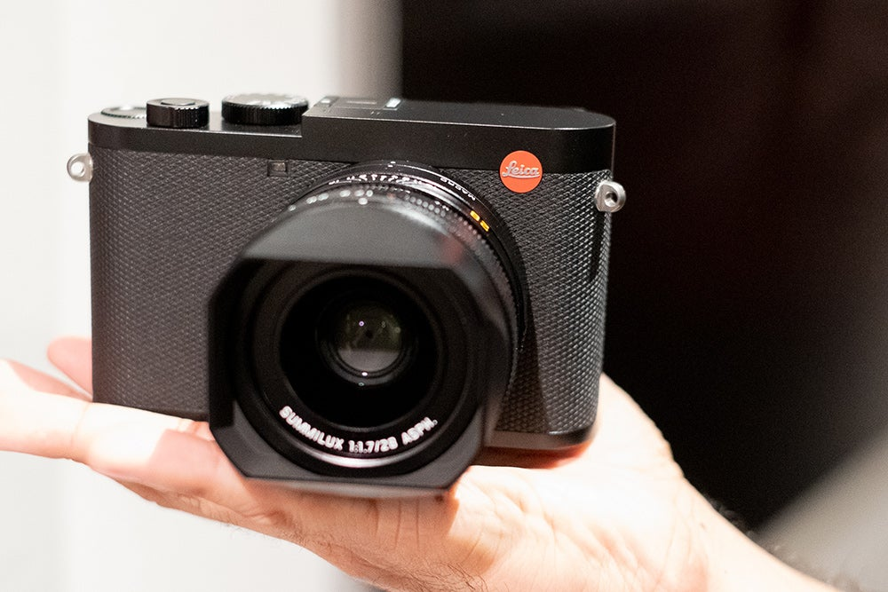Leica Q2 camera in hand